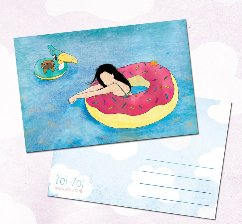 Illustrated postcard / donut / floating / woman / origami / image 0