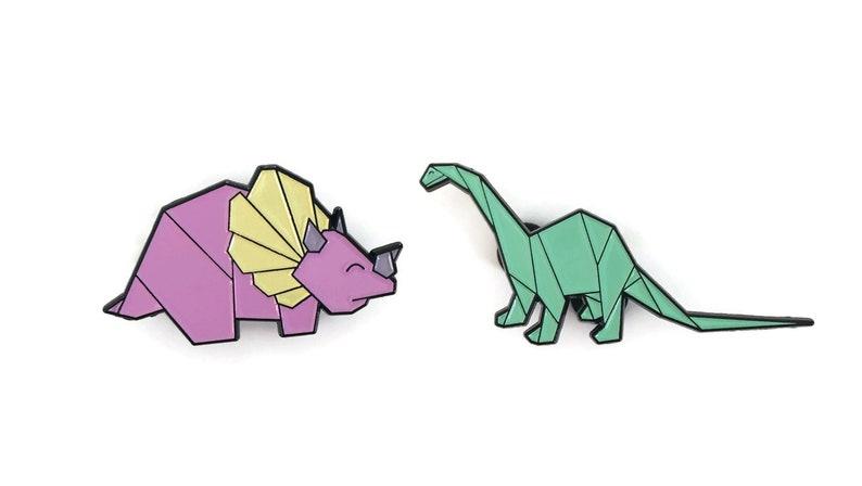 Combi pack soft enamel geometric origami dinosaur pins in image 0