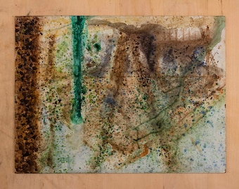 Abstract Landscape Watercolor Painting on Board