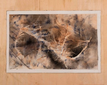 IED Blast Hole Abstract Watercolor Painting on Paper