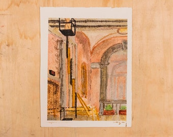 Watercolor Painting on Paper of the Inside of the Ohio Statehouse