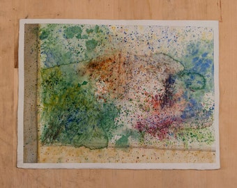 Abstract Landscape Watercolor Painting on paper