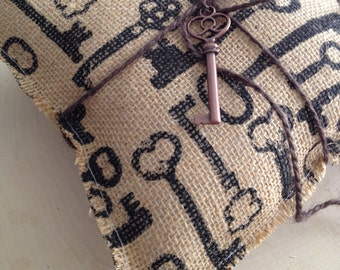 Key to My Heart Burlap Ring Bearer Pillow - Rustic Ring Bearer Pillow - Skeleton Key Pillow