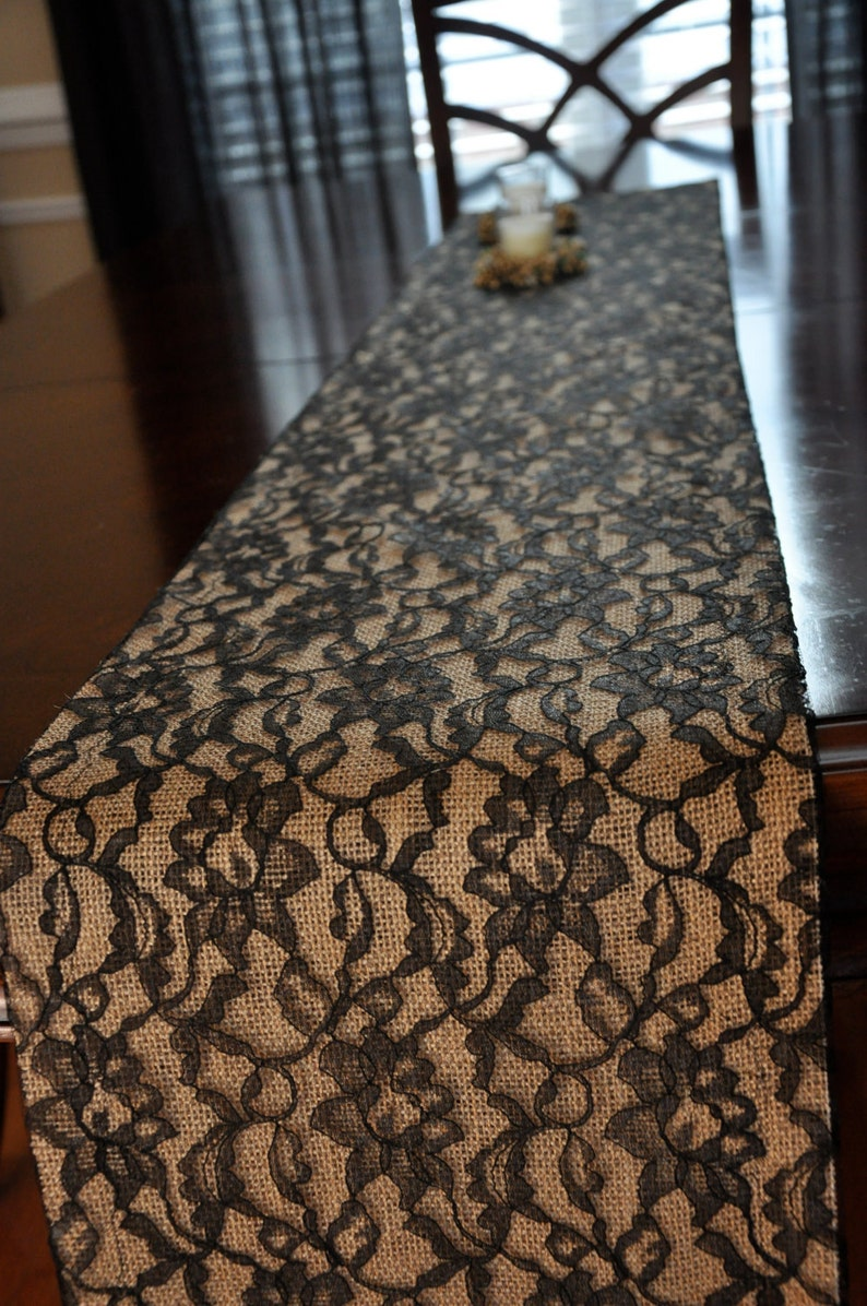 Black Lace and Burlap Table Runner   Lace Over Burlap Table image 0