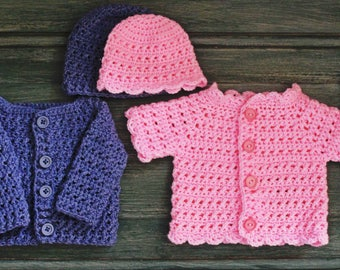 Crochet pattern baby cardigan and hat for boys and girls