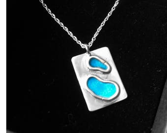 """Silver necklace with blue enamel on an 18"""" silver chain"""