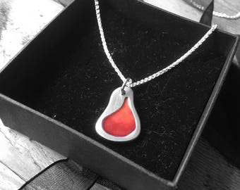 """Solid silver pendant with red/orange enamel on an 18"""" in silver chain"""