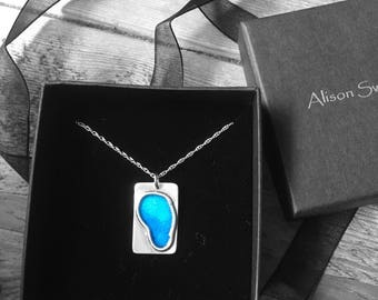 """Silver pendant with shades of blue enamel on an 18"""" silver chain"""