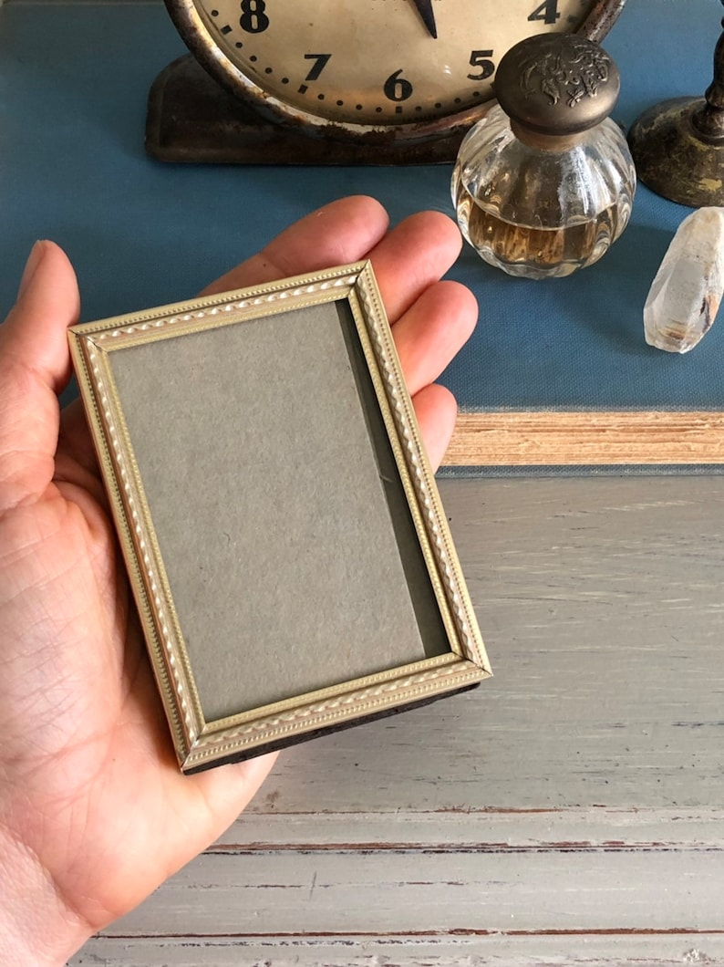 tiny vintage picture frame for wallet sized photo 2.25x3.25 in lovely gold  rose gold toned metal antique decor wedding table number holder