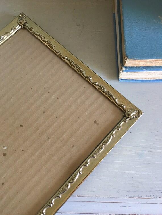Cadre photo Vintage 8 x 10 / argenté or ton métal avec vert patine pieds boule Art déco mariage tableau signe Display / décor de ferme