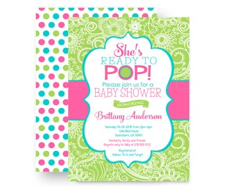 Ready to pop baby shower invitations etsy ready to pop baby shower invitations for girls pink green and aqua shabby floral custom color design printed invites with envelopes filmwisefo