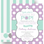 Purple Pop Baby Shower Invitations for Boys - Balloons - Mint Striped - Look Who's Party Theme - Custom Colors - Printed Set with Envelopes