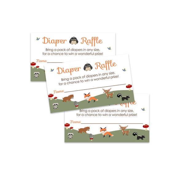 Woodland Animal Diaper Raffle Insert Cards for Baby Shower 25 Pack Paper Clever Party