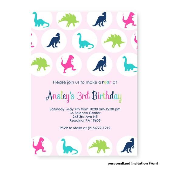 Pink Dinosaur Birthday Invitations For Girl