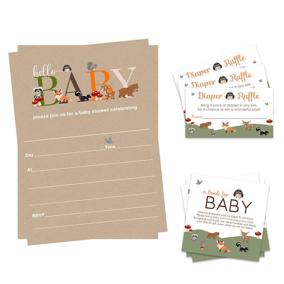 Envelopes 25 Guests Diaper Raffle Tickets Rustic Woodland Baby Shower Invitation Bundle Includes Fill In Invites Bring a Book Cards