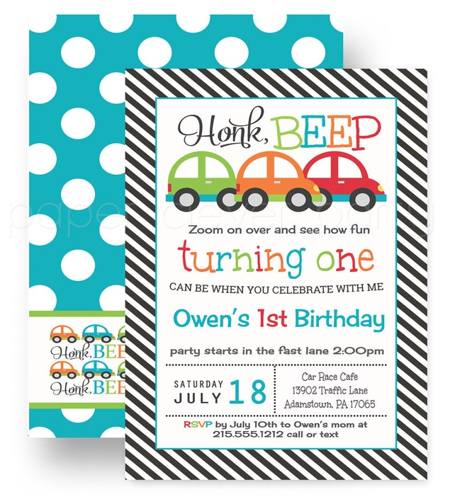 Honk Turning 1 Birthday Party Invitations For Boys