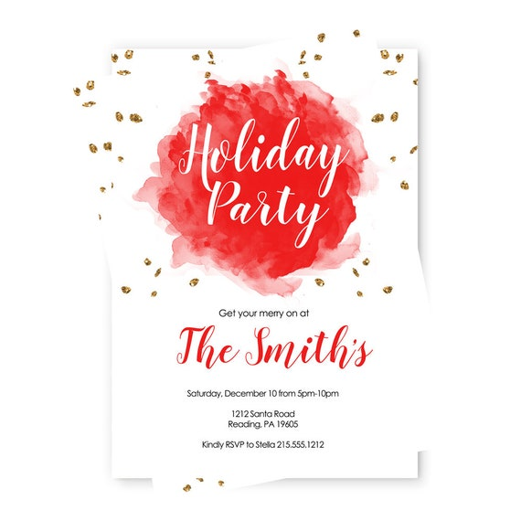holiday party invitations red and gold christmas gathering for