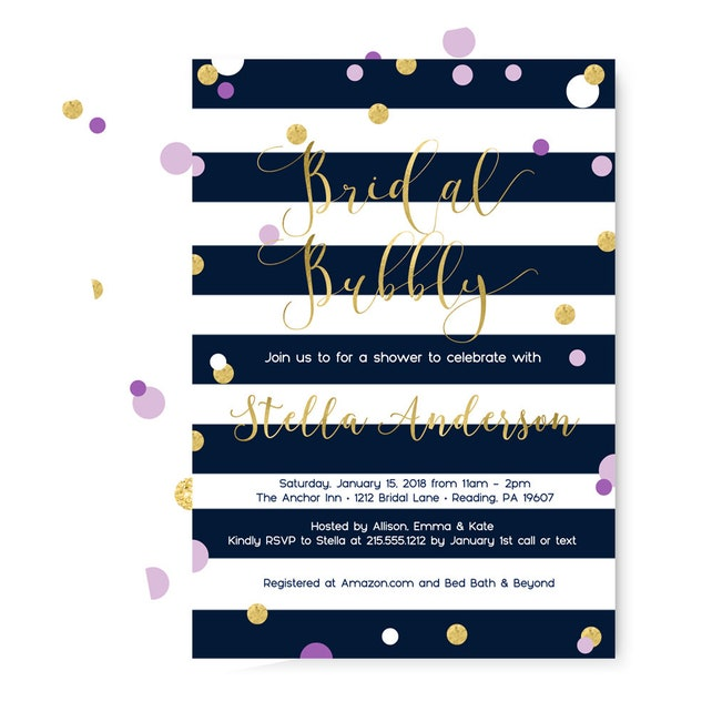 Bridal Bubbly Invitations - Navy Stripe - Purple and Gold - Wedding Shower - Abstract Baby Shower - Hen Party - Invite Set with Envelopes