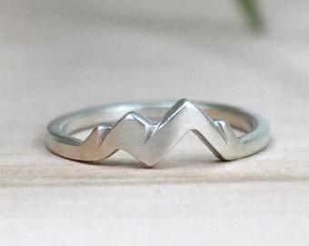 Sterling Silver Womens Mountain Ring, Adventure Awaits, Nature Ring, Mountain Range Ring, Brush Finish