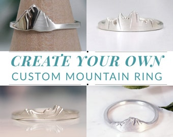 Original Custom Mountain Ring, Design Your Own Ring, Sterling Silver Ring