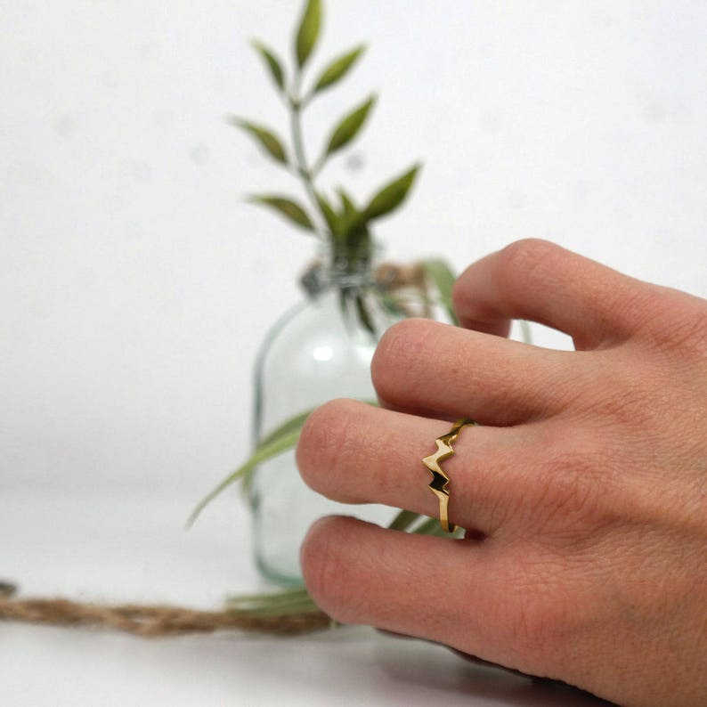 14K Gold Colorado Jewelry Mountain Ring Gold Womens Mountain Ring Mountain Range Ring Trendy Ring Nature Ring
