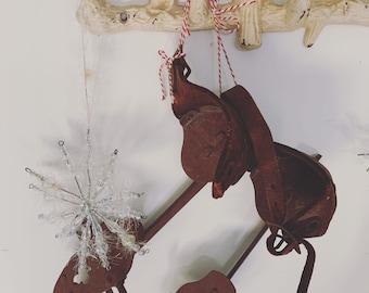 Vintage metal strap on ice skates