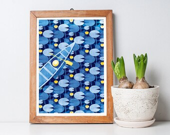 Reflective Journey Art Print A3 – Blue Pattern, Housewarming Gift, Home Decor, Oriental, Wall Art, Decorative
