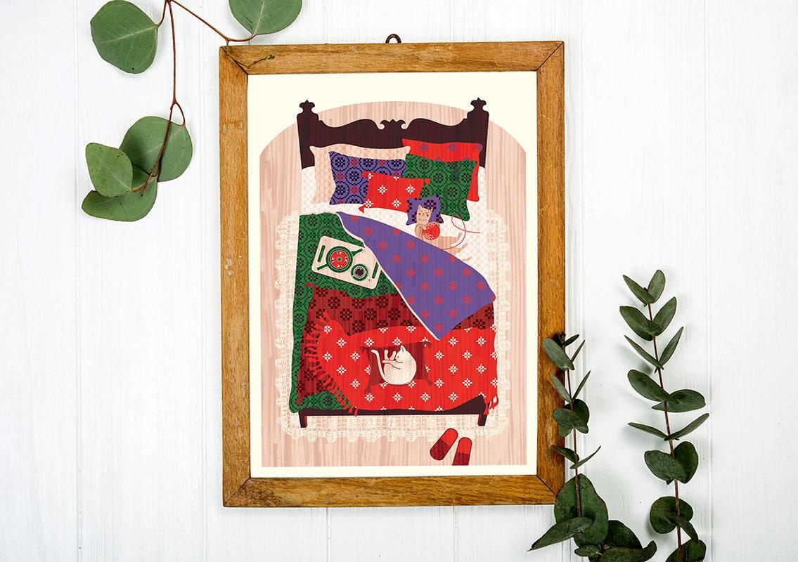 Koty w sypialni Art Print a3-parapetówkę prezent prezent   Etsy