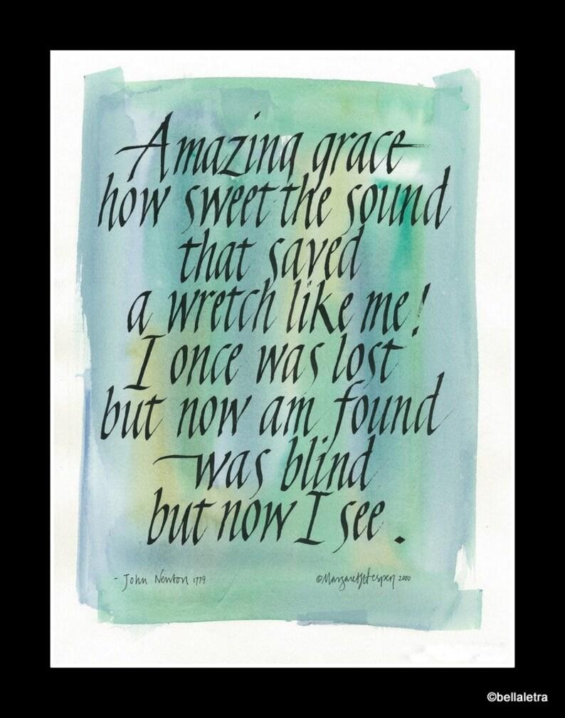 amazing grace calligraphy print image 0