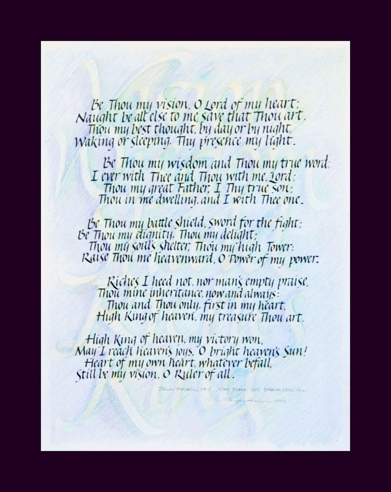 be thou my vision calligraphy print 11 x 14 image 0