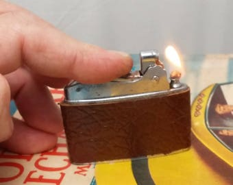 1950s CORONET Japan Automatic Lighter - Rehabbed, working, New Leather Wrap