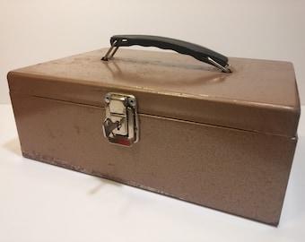 Vintage Rockaway Metal Products Cash Box in Copper Brown - Industrial Appeal