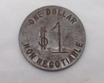 Vintage ONE DOLLAR Metal Casino Token - Large Metal Coin, Non-Negotiable, Slot Machine Token, Casinos, 1960s
