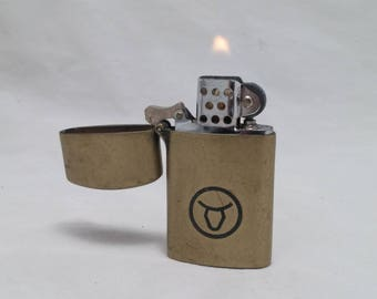 1980s Vintage WINSTON No Bull branded flip top brass finish lighter - Excellent condition, Working, Rehabbed