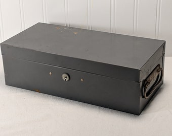 COLE Steel Equipment CASH BOX - filing box for important papers, cash storage, jewelry, etc. - 1960s Industrial Appeal