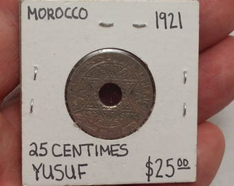 1921 French Morocco 25 Centimes Coin Y#34.1