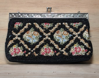 Vintage Black Beaded Clutch Purse with Kiss Lock Closure, Chain, and Floral patterned embroidery