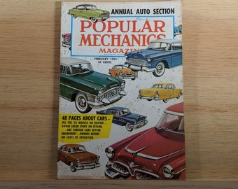 Popular Mechanics February 1955, SPECIAL AUTO Issue, 48 Pages on New Cars, HD  - Great Condition - Fascinating Articles and Many Vintage Ads