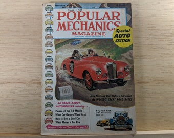 Popular Mechanics February 1954, SPECIAL AUTO Issue, 46 Pages on New Cars - Great Condition - Fascinating Articles and Many Vintage Ads
