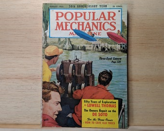 Popular Mechanics August 1952 - Stereoscopic Cameras, 1952 De Soto, Studebaker - Great Condition Fascinating Articles and Many Vintage Ads