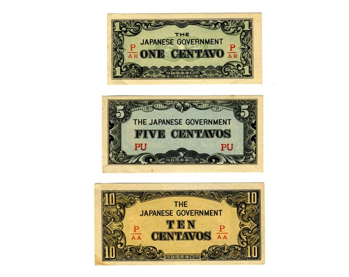 Featured listing image: 1942 Japanese Army Occupation Currency - Philippines Invasion and Occupation - World War 2 - Set of 3 Crisp 1, 5, and 10 CENTAVO banknotes