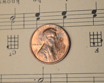 Lincoln Cent Penny With Masonic Counterstamp of Free Mason Compass - Many 1960, 1970, 1980, 1990s dates available
