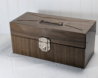 Vintage Unbranded PORTA FILE Small Sized Metal Letter Filing Box in Wood grain finish, Chrome finished hardware - 1960s - Key INCLUDED