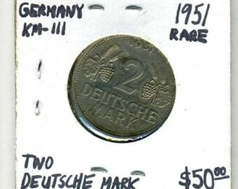 1951 Germany Two Deutsche Mark Cupronickel Coin - KM #111 - Rare