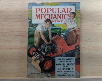 Popular Mechanics July 1951 - 1951 Plymouth, Fire Bombs Blaze Trail of War - Great Condition - Fascinating Articles and Many Vintage Ads