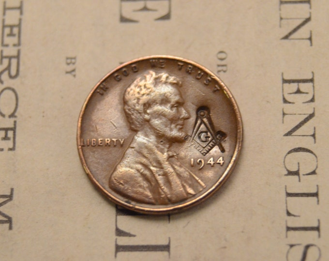Featured listing image: Lincoln Wheat Cent Penny With Masonic Counterstamp of Free Mason Compass - 1930s 1940s 1950s - LIMITED Quantities