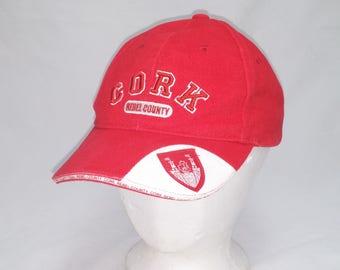 Vintage 1990s CORK Rebel County Gaelic Football Ball Cap - Hipster, Gaelic Football, Sports, Men's Accessories, Ireland, Corcaigh, Dad Hats