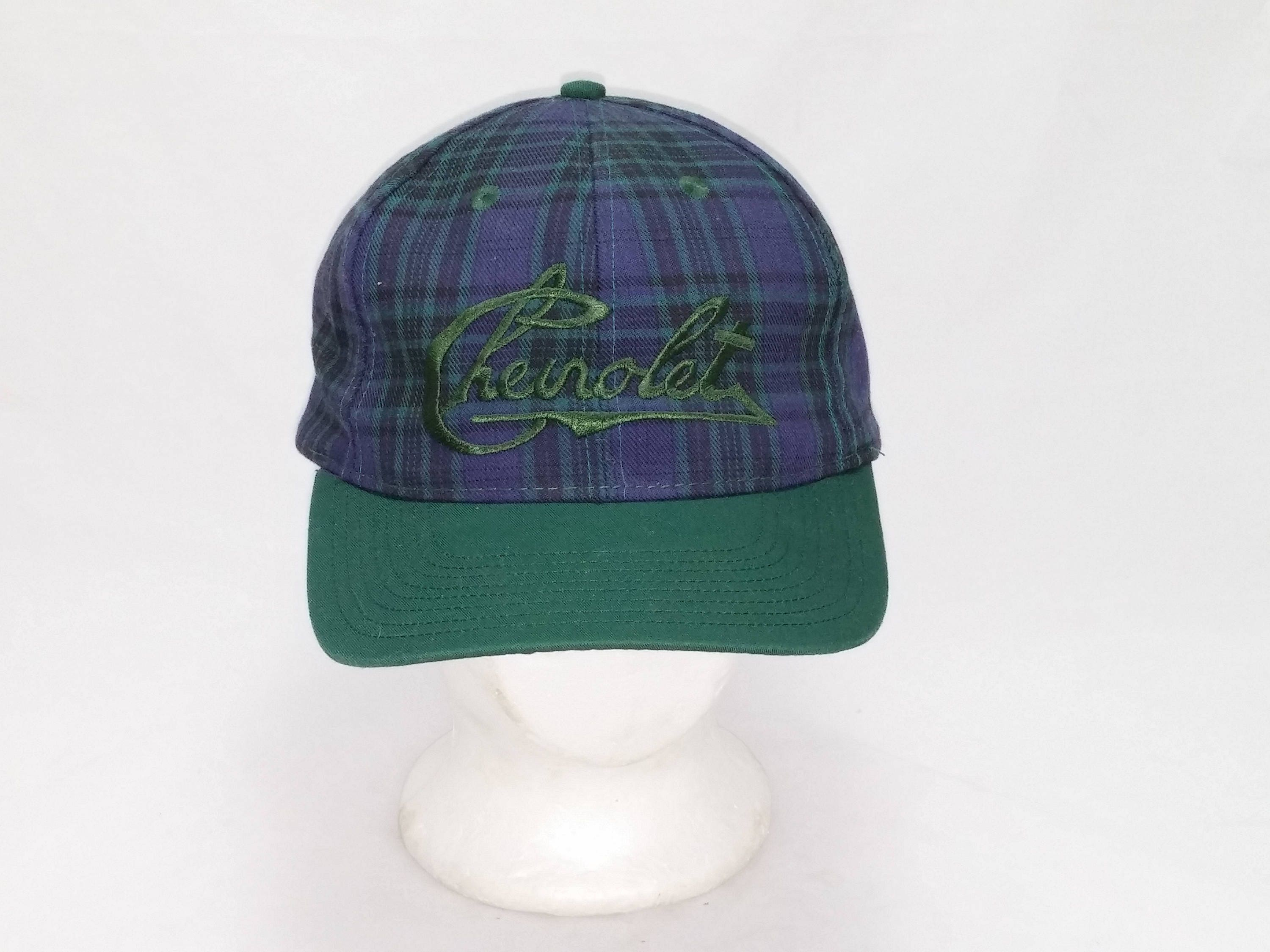 e2a03e46 Vintage 1990s Snap back Trucker Ball Cap - Chevrolet on Blue Plaid Pattern  - Hipster, Rockabilly, Chevy, Gearhead, Accessories, Dad Hats