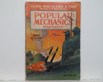 Popular Mechanics September 1940 - 50,000 War Planes A Year - Great Condition - Fascinating Articles and Many Vintage Ads - World War 2