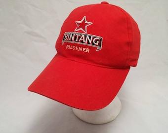 Vintage 1990s Trucker Ball Cap - BINTANG Pilsener - Beer, Old Man Beer, Hipster, Rockabilly, Dad Hat, Retro, Accessories, Advertising
